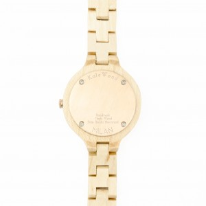 Kate-Wood-womens-wooden-watch-Milan-buy-wooden-watch-light-sandalwood-and-rose-details-at-Kate-Wood-webshop-front-white-plate-back-rose-gold