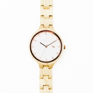 Kate-Wood-womens-wooden-watch-Milan-buy-wooden-watch-light-sandalwood-and-rose-details-at-Kate-Wood-webshop-front-white-plate-front