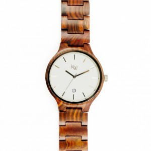 Kate-Wood-wooden-watch-Havana-men-watch-buy-wooden-watch-brown-sandalwood-at-Kate-Wood-webshop-front-white-plate-zoom